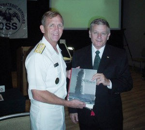 Tom Hawkins was editor-in-chief of The Blast Journal of Special Warfare--here with ADM Eric Olson