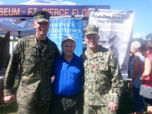 LCDR Nash, Tom Hawkins, and ADM Pybus at the Navy SEAL Museum Muster.
